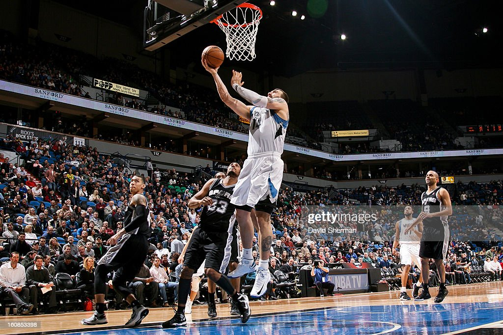 Nikola Pekovic #14 of the Minnesota Timberwolves shoots a layup against the San Antonio Spurs on February 6, 2013 at Target Center in Minneapolis, Minnesota.