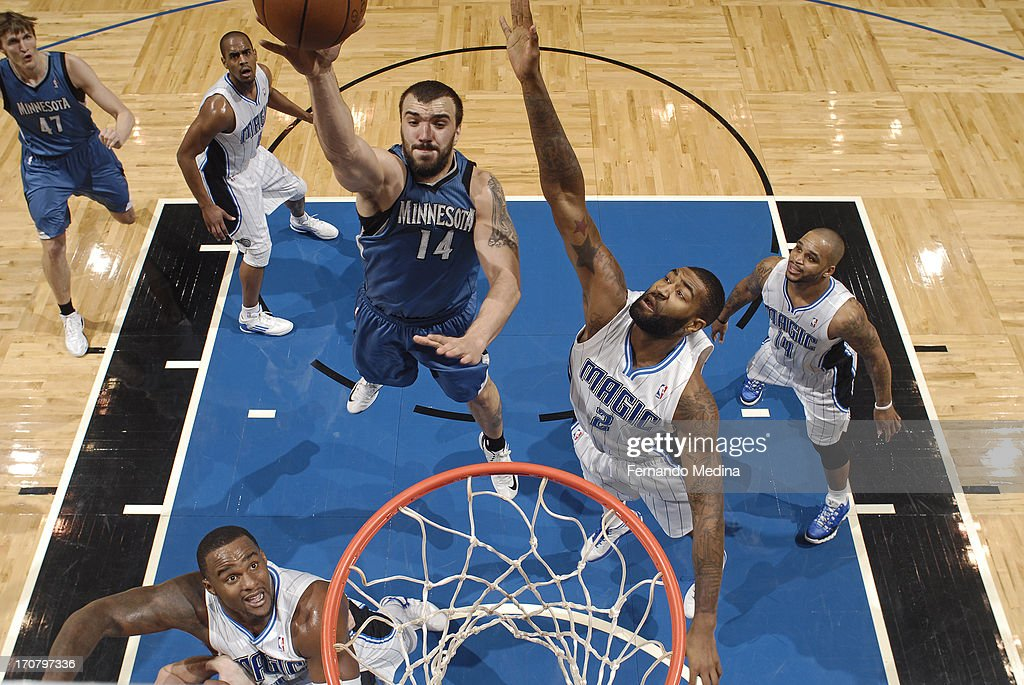 <a gi-track='captionPersonalityLinkClicked' href=/galleries/search?phrase=Nikola+Pekovic&family=editorial&specificpeople=829137 ng-click='$event.stopPropagation()'>Nikola Pekovic</a> #14 of the Minnesota Timberwolves shoots against <a gi-track='captionPersonalityLinkClicked' href=/galleries/search?phrase=Kyle+O%27Quinn&family=editorial&specificpeople=9027719 ng-click='$event.stopPropagation()'>Kyle O'Quinn</a> #2 of the Orlando Magic on December 17, 2012 at Amway Center in Orlando, Florida.