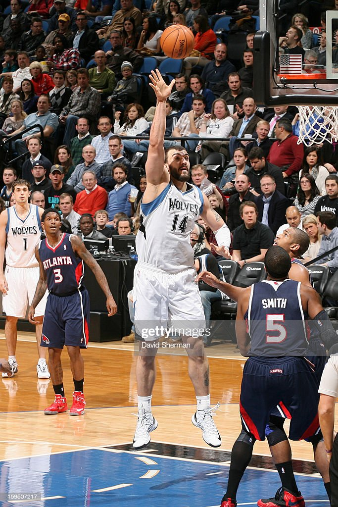 <a gi-track='captionPersonalityLinkClicked' href=/galleries/search?phrase=Nikola+Pekovic&family=editorial&specificpeople=829137 ng-click='$event.stopPropagation()'>Nikola Pekovic</a> #14 of the Minnesota Timberwolves shoots against the Atlanta Hawks on January 8, 2013 at Target Center in Minneapolis, Minnesota.