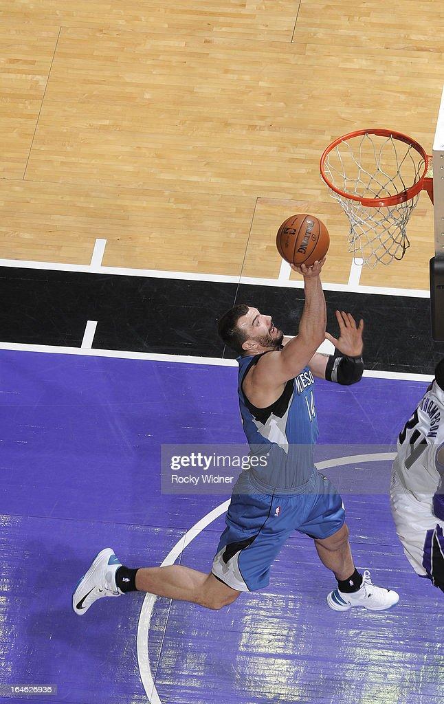 Nikola Pekovic #14 of the Minnesota Timberwolves shoots against the Sacramento Kings on March 21, 2013 at Sleep Train Arena in Sacramento, California.