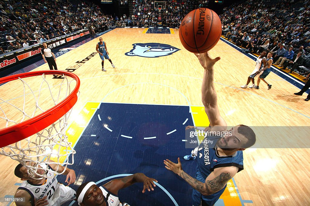 <a gi-track='captionPersonalityLinkClicked' href=/galleries/search?phrase=Nikola+Pekovic&family=editorial&specificpeople=829137 ng-click='$event.stopPropagation()'>Nikola Pekovic</a> #14 of the Minnesota Timberwolves shoots against the Memphis Grizzlies on March 18, 2013 at FedExForum in Memphis, Tennessee.