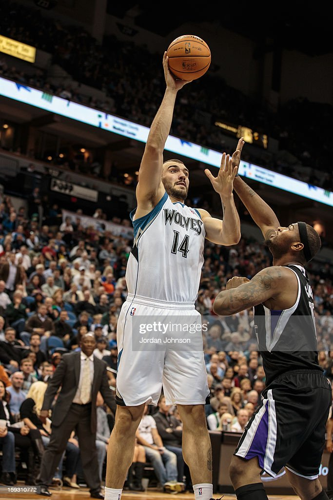 <a gi-track='captionPersonalityLinkClicked' href=/galleries/search?phrase=Nikola+Pekovic&family=editorial&specificpeople=829137 ng-click='$event.stopPropagation()'>Nikola Pekovic</a> #14 of the Minnesota Timberwolves shoots against the Sacramento Kings during the season opening game on November 2, 2012 at Target Center in Minneapolis, Minnesota.