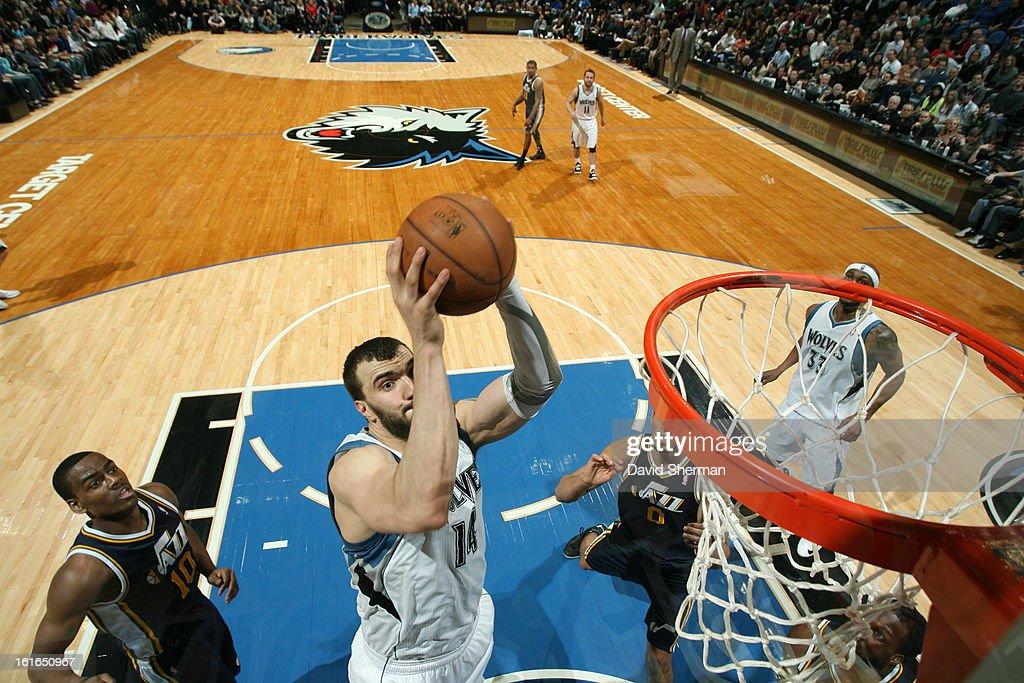 Nikola Pekovic #14 of the Minnesota Timberwolves shoots against the Utah Jazz on February 13, 2013 at Target Center in Minneapolis, Minnesota.