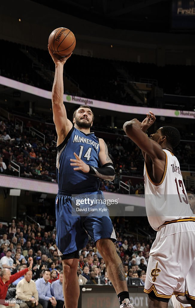 Nikola Pekovic #14 of the Minnesota Timberwolves shoots against Tristan Thompson #13 of the Cleveland Cavaliers at The Quicken Loans Arena on February 11, 2013 in Cleveland, Ohio.