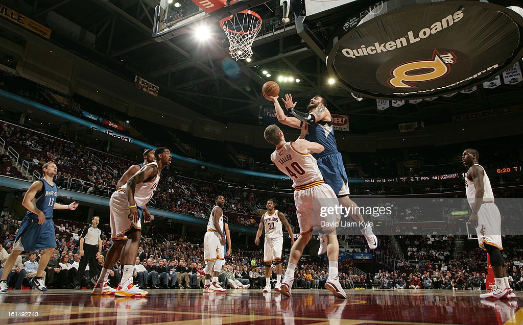 Nikola Pekovic #14 of the Minnesota Timberwolves shoots against Tyler Zeller #40 of the Cleveland Cavaliers at The Quicken Loans Arena on February 11, 2013 in Cleveland, Ohio.