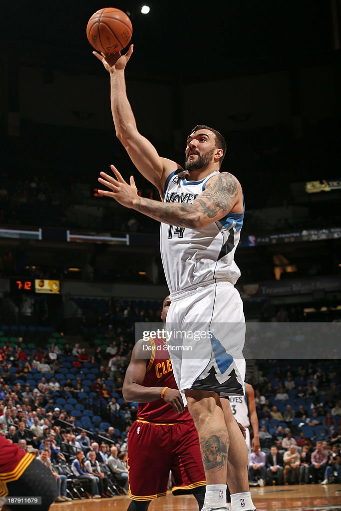 Nikola Pekovic #14 of the Minnesota Timberwolves shoots the ball against the Cleveland Cavaliers on November 13, 2013 at Target Center in Minneapolis, Minnesota.