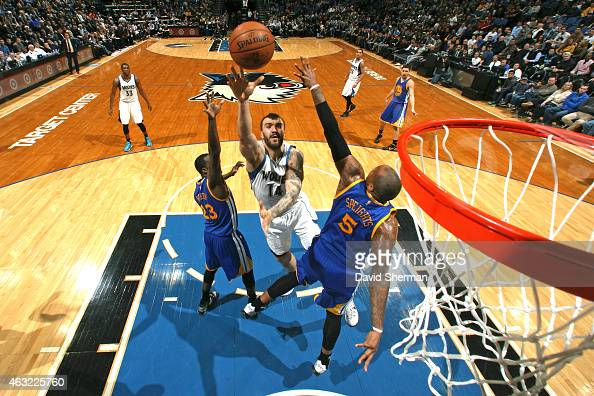 Nikola Pekovic of the Minnesota Timberwolves shoots the ball against the Golden State Warriors during the game on February 11 2015 at Target Center...