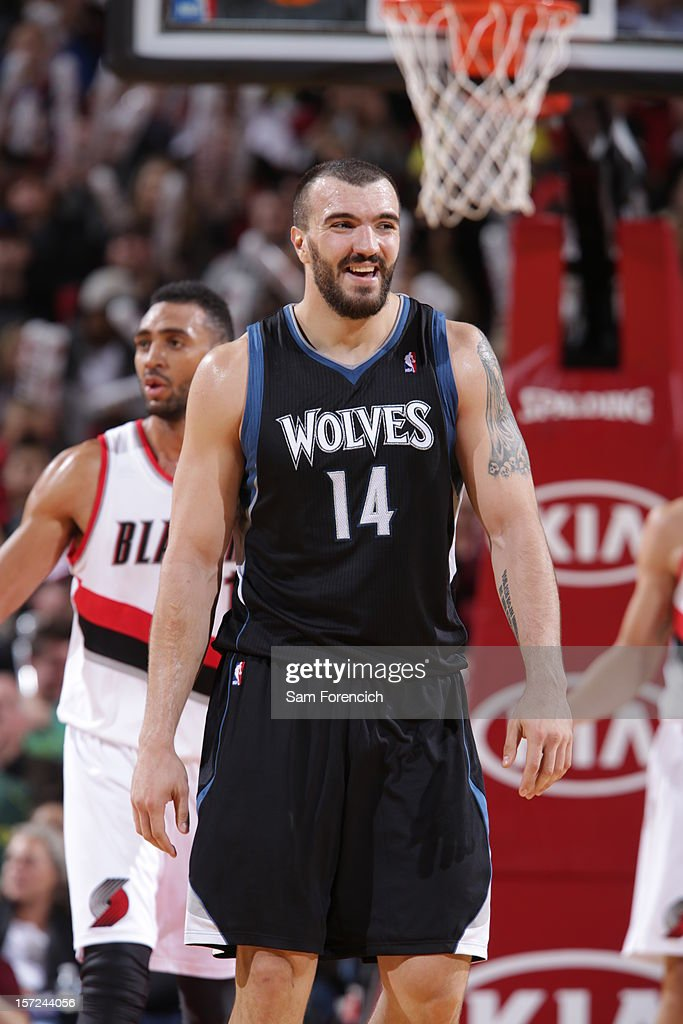 <a gi-track='captionPersonalityLinkClicked' href=/galleries/search?phrase=Nikola+Pekovic&family=editorial&specificpeople=829137 ng-click='$event.stopPropagation()'>Nikola Pekovic</a> #14 of the Minnesota Timberwolves smiling after a call against the Portland Trail Blazers on November 23, 2012 at the Rose Garden Arena in Portland, Oregon.