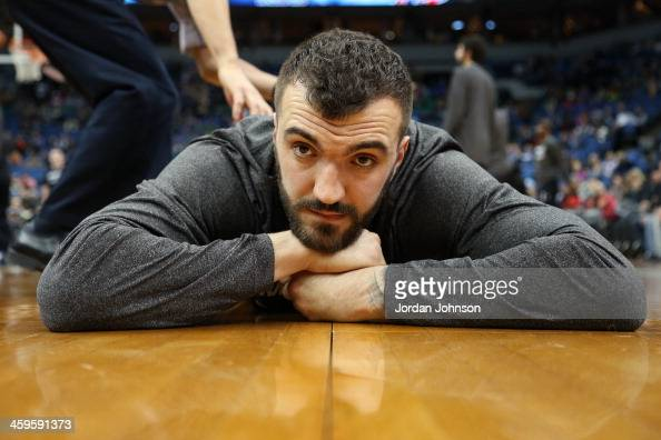 Nikola Pekovic of the Minnesota Timberwolves stretches before the game against the Washington Wizards on December 27 2013 at Target Center in...