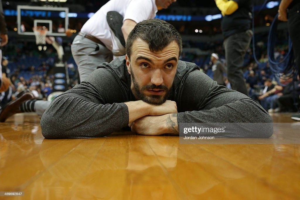 Nikola Pekovic #14 of the Minnesota Timberwolves stretches before the game against the Cleveland Cavaliers on November 13, 2013 at Target Center in Minneapolis, Minnesota.