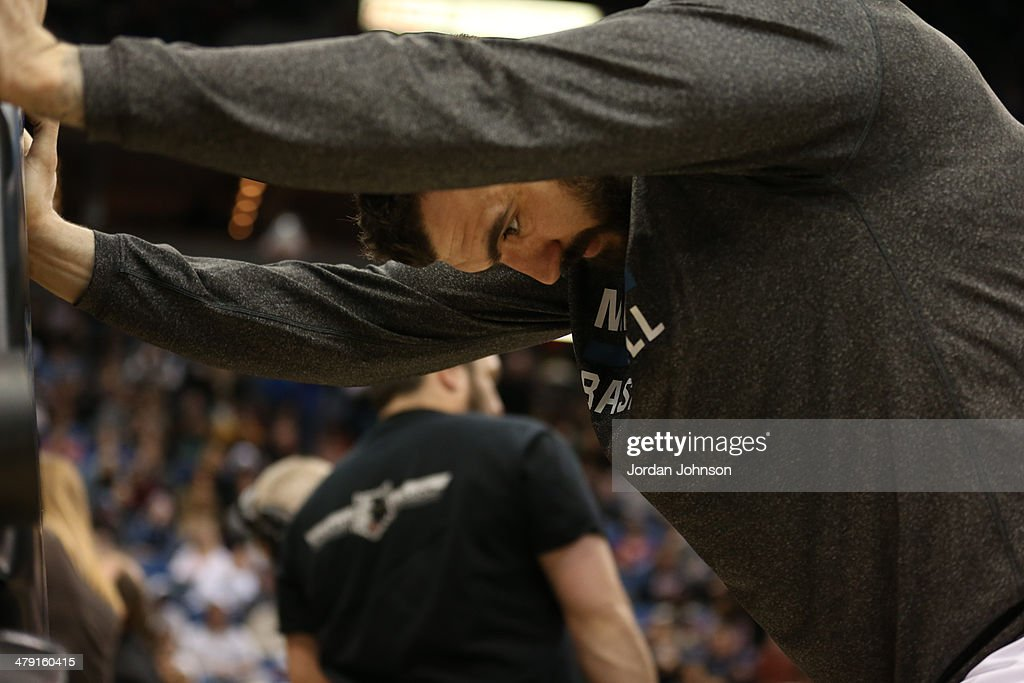 <a gi-track='captionPersonalityLinkClicked' href=/galleries/search?phrase=Nikola+Pekovic&family=editorial&specificpeople=829137 ng-click='$event.stopPropagation()'>Nikola Pekovic</a> #14 of the Minnesota Timberwolves stretches before the game against the Detroit Pistons on March 7, 2014 at Target Center in Minneapolis, Minnesota.