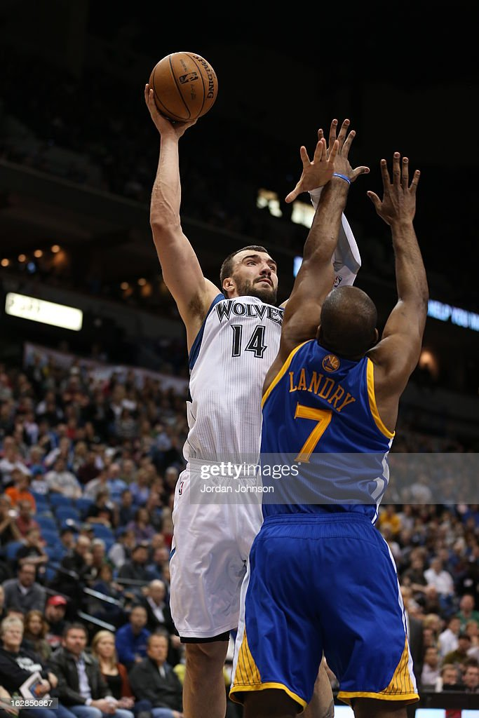 Nikola Pekovic #14 of the Minnesota Timberwolves takes a shot against the Golden State Warriors on February 24, 2013 at Target Center in Minneapolis, Minnesota.