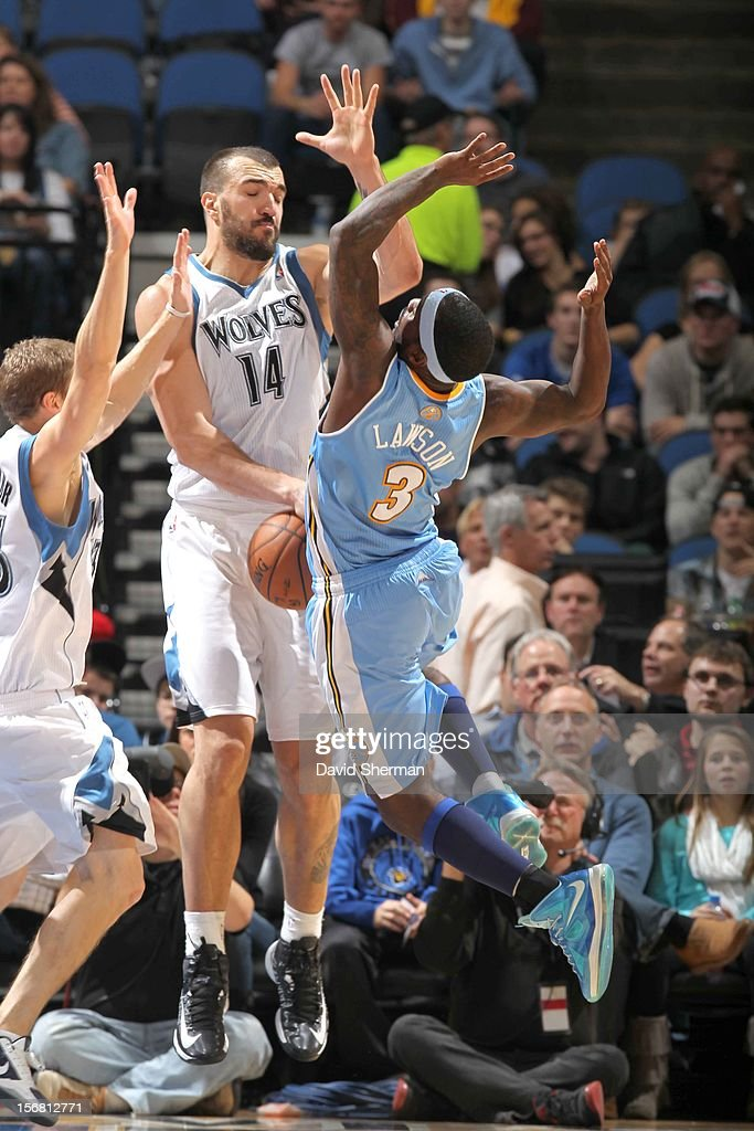 Nikola Pekovic #14 of the Minnesota Timberwolves tricks an opponent during the game between the Minnesota Timberwolves and the Denver Nuggets on November 21, 2012 at Target Center in Minneapolis, Minnesota.