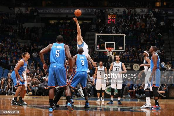 Nikola Pekovic of the Minnesota Timberwolves wins the opening tip off against the Oklahoma City Thunder during the game on November 1 2013 at Target...