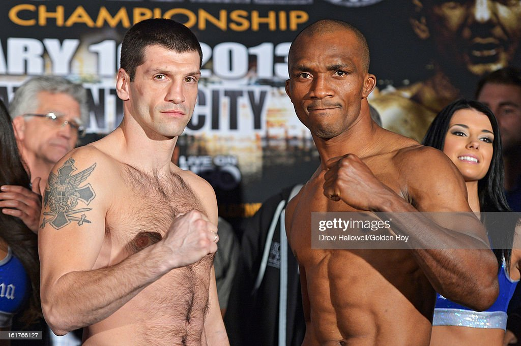 Nikola Sjekloca of Montenegro and Sakio Bika of Australia pose for a photograph during weigh-in before the WBC Lightweight World Championship at Caesars Atlantic City on February 15, 2013 in Atlantic City, New Jersey.