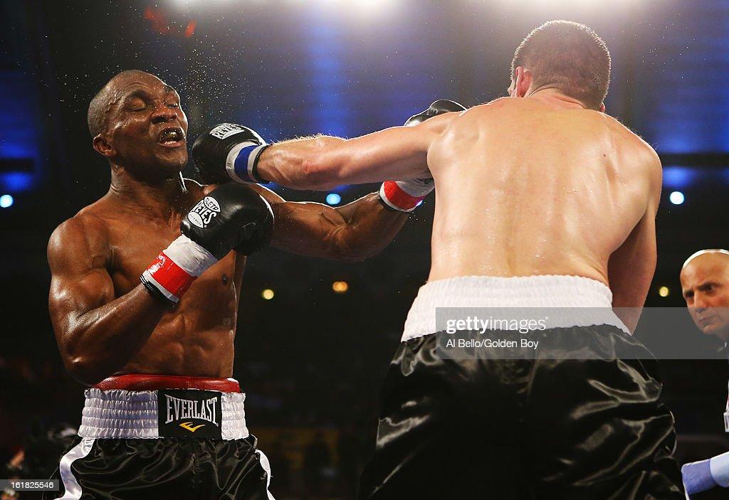 Nikola Sjekloca punches Sakio Bika during their WBC Super Middleweight title Eliminator fight at Atlantic City Boardwalk Hall on February 16, 2013 in Atlantic City, New Jersey.