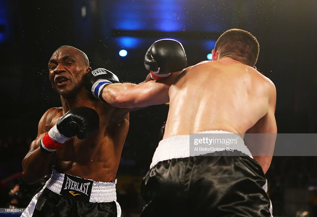 Nikola Sjekloca punches Sakio Bika during their WBC Super Middleweight title Eliminator fight at Atlantic City Boardwalk Hall on February 16, 2013 in Atlantic City, New Jersey.