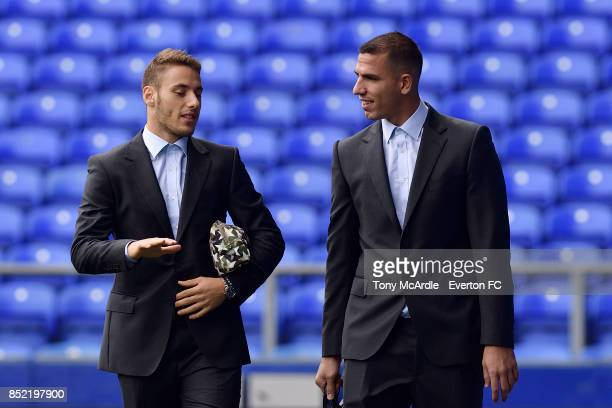 Nikola Vlasic and Joel Robles arrive before the Premier League match between Everton and AFC Bournemouth at Goodison Park on September 23 2017 in...