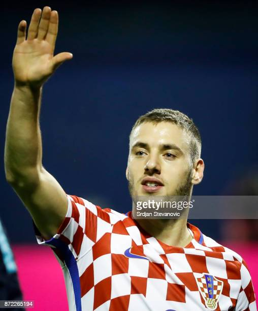 Nikola Vlasic of Croatia celebrates after winning the FIFA 2018 World Cup Qualifier PlayOff First Leg match between Croatia and Greece at Stadion...