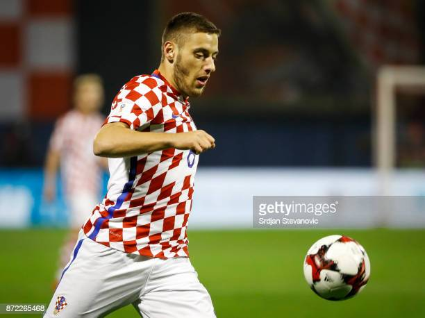 Nikola Vlasic of Croatia in action during the FIFA 2018 World Cup Qualifier PlayOff First Leg between Croatia and Greece at Stadion Maksimir on...