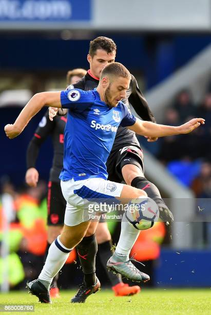 Nikola Vlasic of Everton and Granit Xhaka of Arsenal battle for possession during the Premier League match between Everton and Arsenal at Goodison...