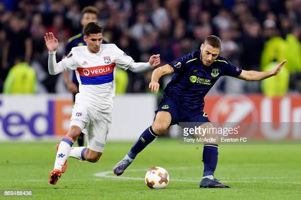 Nikola Vlasic of Everton and Mariano challenge the ball during the UEFA Europa League match between Olympique Lyon and Everton at Groupama Stadium on...