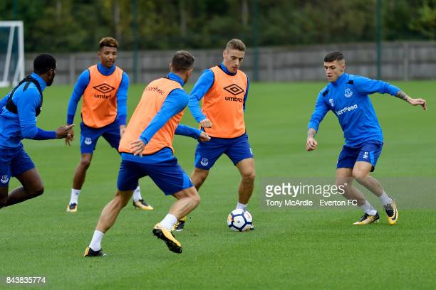 Nikola Vlasic of Everton and Muhamed Besic during the Everton FC training session at USM Finch Farm on September 7 2017 in Halewood England
