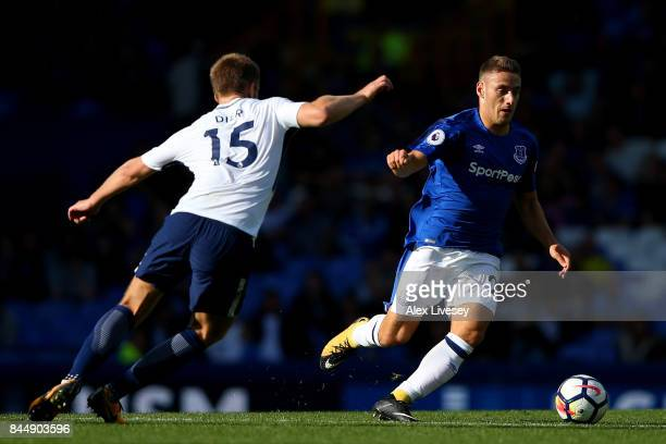 Nikola Vlasic of Everton attempts to get away from Eric Dier of Tottenham Hotspur during the Premier League match between Everton and Tottenham...