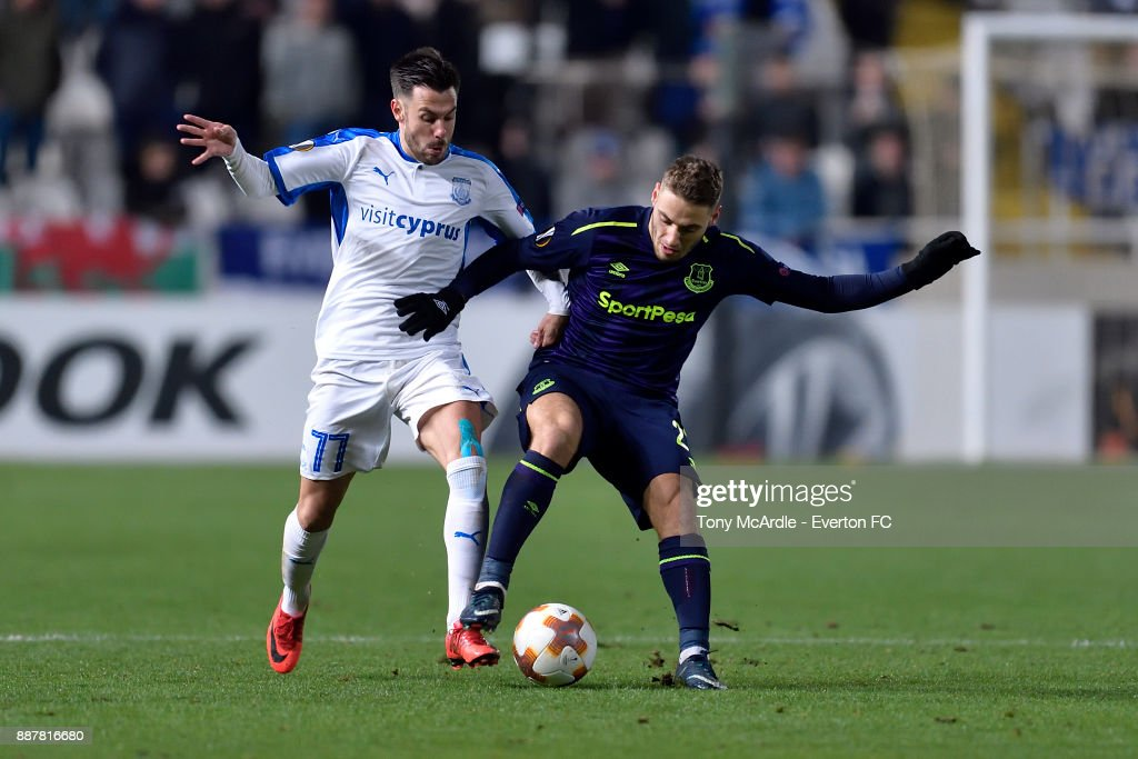 Nikola Vlasic of Everton (R) challenges for the ball during the UEFA Europa League Group E match between Apollon Limassol and Everton at GSP Stadium on December 7, 2017 in Nicosia, Cyprus.