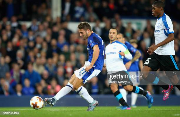Nikola Vlasic of Everton scores his sides second goal during the UEFA Europa League group E match between Everton FC and Apollon Limassol at Goodison...