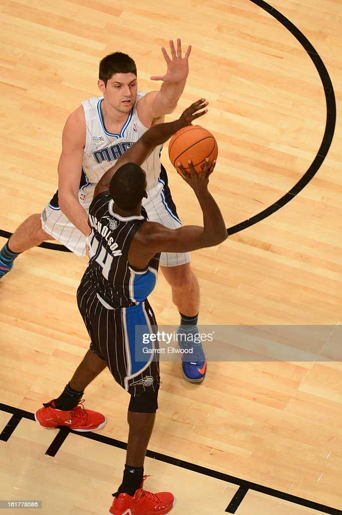 Nikola Vucevic of Team Chuck against Andrew Nicholson #44 of Team Shaq during 2013 BBVA Rising Stars Challenge at Toyota Center on February 15, 2013 in Houston, Texas.