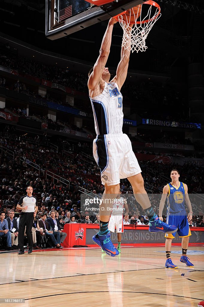 Nikola Vucevic #9 of Team Chuck attempts a dunk against Team Shaq during the 2013 BBVA Rising Stars Challenge at Toyota Center on February 15, 2013 in Houston, Texas.
