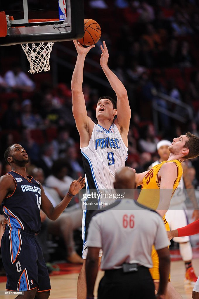 Nikola Vucevic #9 of Team Chuck shoots against Team Shaq during the 2013 BBVA Rising Stars Challenge on February 15, 2013 at Toyota Center in Houston, Texas.