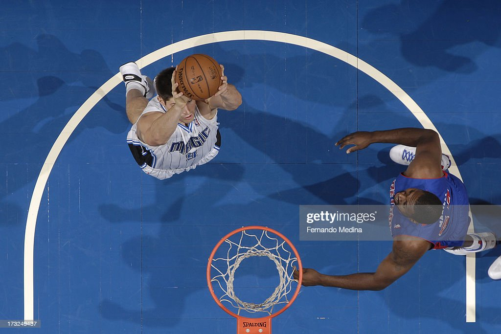 Nikola Vucevic #9 of the Orlando Magic aims at the basket during the game between the Detroit Pistons and the Orlando Magic on January 27, 2013 at Amway Center in Orlando, Florida.