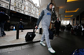 Nikola Vucevic of the Orlando Magic arrives at the hotel as part of 2016 London Global Games at JW Marriott Grosvenor House on January 12 2016 in...