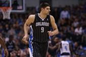 Nikola Vucevic of the Orlando Magic at American Airlines Center on February 20 2013 in Dallas Texas NOTE TO USER User expressly acknowledges and...