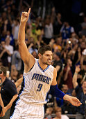 Nikola Vucevic of the Orlando Magic celebrates a game winning shot to defeat the Los Angeles Lakers 10199 at Amway Center on November 11 2015 in...