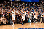 Nikola Vucevic of the Orlando Magic celebrates with his teammates after hitting the game winning shot against the Los Angeles Lakers on November 11...
