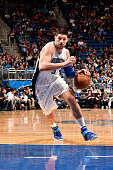 Nikola Vucevic of the Orlando Magic drives to the basket during the game against the Indiana Pacers on January 6 2016 at Amway Center in Orlando...