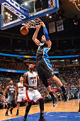 Nikola Vucevic of the Orlando Magic dunks against the Miami Heat on November 22 2014 at Amway Center in Orlando Florida NOTE TO USER User expressly...