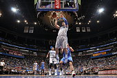 Nikola Vucevic of the Orlando Magic dunks against the Oklahoma City Thunder on October 30 2015 at Amway Center in Orlando Florida NOTE TO USER User...