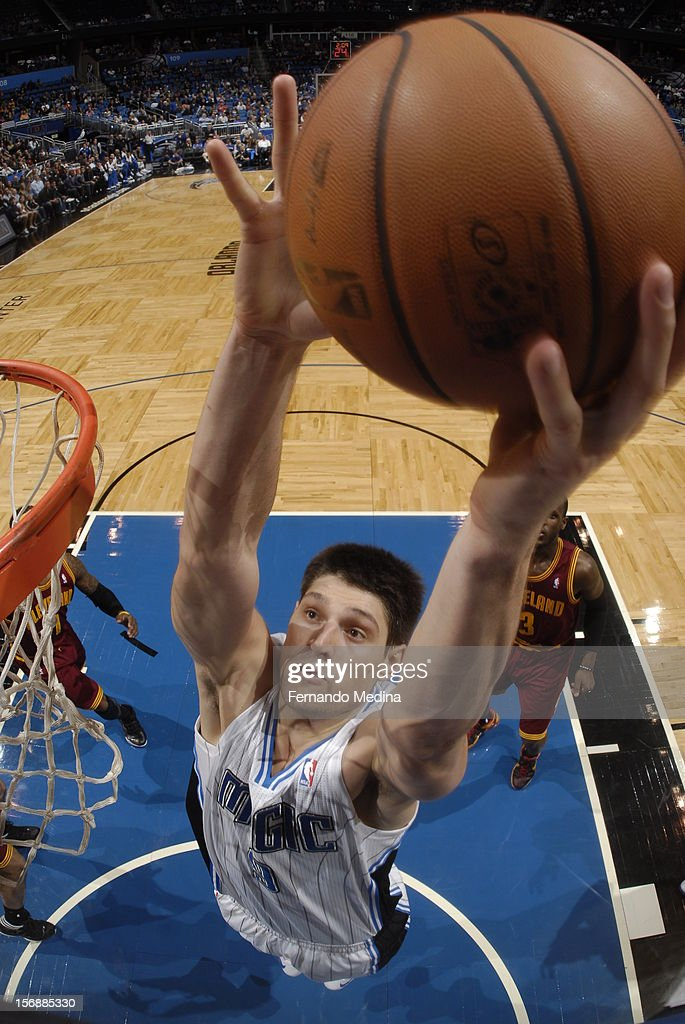 Nikola Vucevic #9 of the Orlando Magic dunks the ball against the Cleveland Cavaliers on November 23, 2012 at Amway Center in Orlando, Florida.