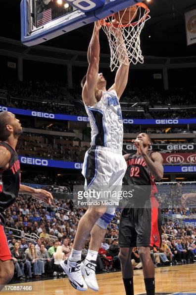 Nikola Vucevic of the Orlando Magic dunks the ball against the Toronto Raptors during the game on January 24 2013 at Amway Center in Orlando Florida...