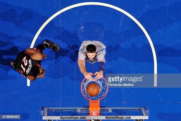 Nikola Vucevic of the Orlando Magic dunks the ball during the game against the Miami Heat on April 8 2016 at Amway Center in Orlando Florida NOTE TO...