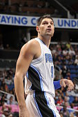 Nikola Vucevic of the Orlando Magic during a preseason game against the Miami Heat on October 13 2015 at Amway Center in Orlando Florida NOTE TO USER...