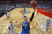 Nikola Vucevic of the Orlando Magic goes for the layup against the New Orleans Pelicans during an NBA game on November 3 2015 at the Smoothie King...