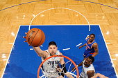 Nikola Vucevic of the Orlando Magic goes to the basket against the New York Knicks on February 11 2015 at Amway Center in Orlando Florida NOTE TO...