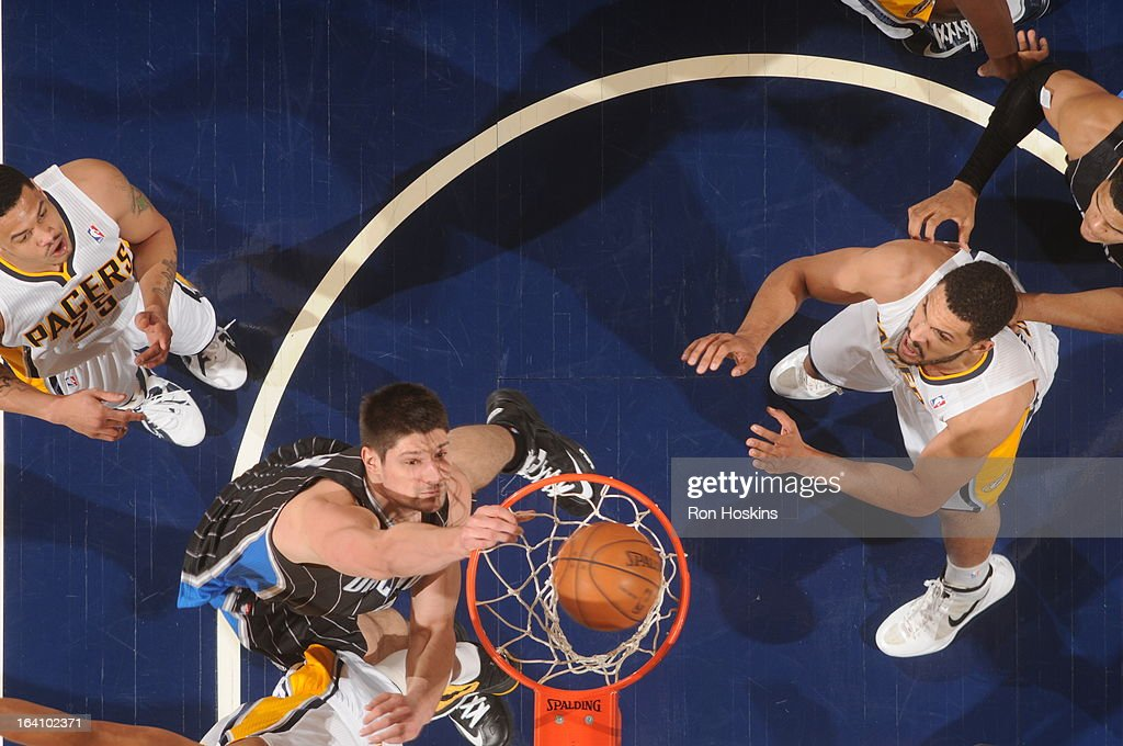 Nikola Vucevic #9 of the Orlando Magic goes up for the dunk against the Indiana Pacers Orlando Magic on March 19, 2013 at Bankers Life Fieldhouse in Indianapolis, Indiana.