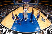 Nikola Vucevic of the Orlando Magic goes up for the dunk against the Philadelphia 76ers during the game on November 27 2013 at Amway Center in...