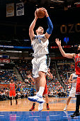 Nikola Vucevic of the Orlando Magic grabs a rebound against the Chicago Bulls on April 8 2015 at Amway Center in Orlando Florida NOTE TO USER User...